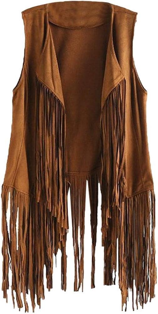 XINXX Women Open Front Cardigan Vest Faux Suede Ethnic 70S Vintage Tassels Fringed Sleeveless Blazer Jacket Autumn Vest