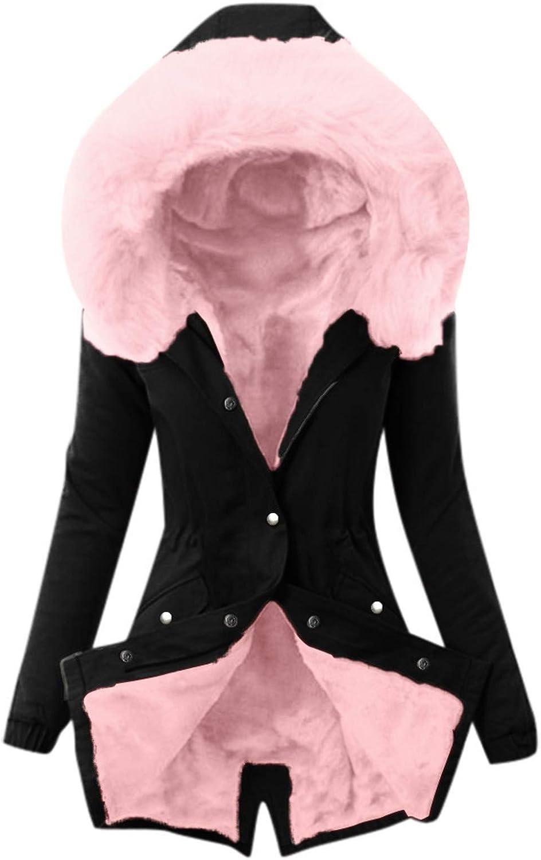 Womens Winter Fur Lining Warm Coat Thick Windbreaker Long Jacket Outwear Artificial Fur Collar Ladies Hooded Overcoat
