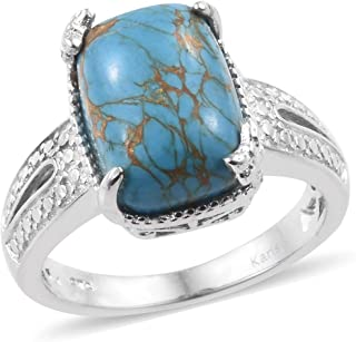 Solitaire Ring Cushion Blue Turquoise Platinum Plated for Women