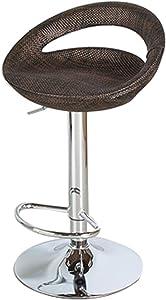Barhocker mit Fußstütze,Barlift Drehhocker Stuhl, Küche Essbereich Kasse Rezeption Hebestühle Hocker, Höhenverstellbar 360 ° Drehstühle Ergonomische Hocker-Dark Color