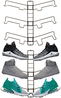 mDesign Modern Metal Shoe Organizer Display & Storage Shelf Rack - Adjustable Shelves Hang & Store Kicks, Running, Basketball, Tennis Shoes - 3 Tier, Each Wall Mount Unit Holds 6 Shoes, 2 Pack, Bronze