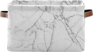 Paniers de rangement Boîte de rangement pour organisateur de placard à texture de marbre blanc avec poignée Grands paniers...