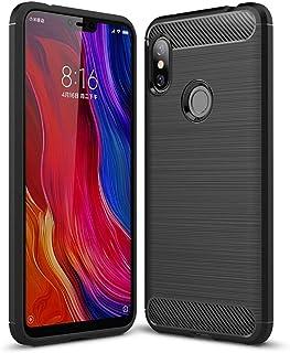 Kit Capa Protetora Anti Impacto Xiaomi Redmi Note 6 Pro Capinha Fibra De Carbono + Película De Vidro Temperado - Danet (Case Preta)