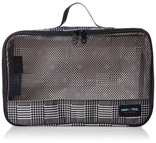[ハピタス] オーガナイザー Mサイズ パッキングバッグ 中身がわかるメッシュ生地 豊富な柄 7L 20 cm 0.12kg グレンチェックブラック
