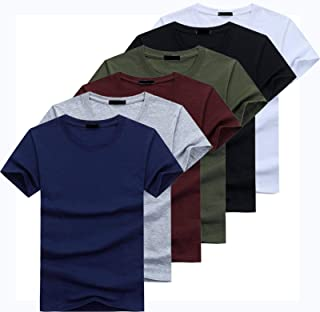 High Quality Fashion Men's T-shirt Casual Short-sleeved T-shirt Men's Solid Color Casual Cotton T-shirt Summer Short-sleeved
