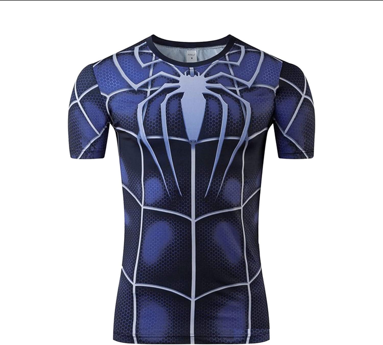 Camiseta Compresión Spiderman Camisetas Fitness Superhéroe Manga Corta Ropa para Correr Gimnasio Ciclismo Deportes Ajustados Secado Rápido Interior,Black-S (155~165CM)
