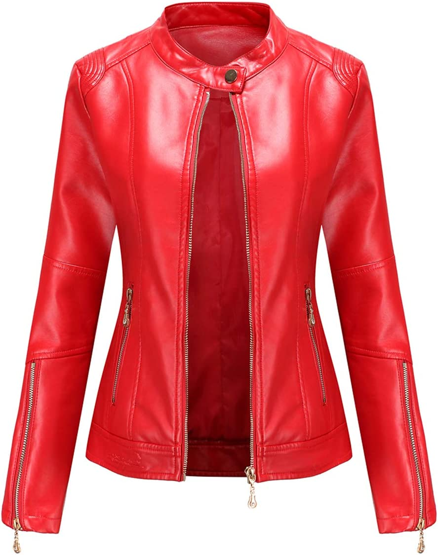 SENDEREAL Womens Faux Leather Jacket Red Moto Biker Jacket with Zipper Pockets,XL