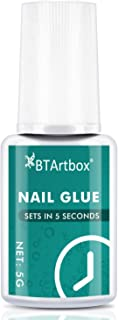 Nail Glue for Acrylic Nails - Brush-on Nail Glue for Press On Nails BTArtbox Adhesive Super Bond for False Acrylic Nail Art Long Lasting, 0.176 oz
