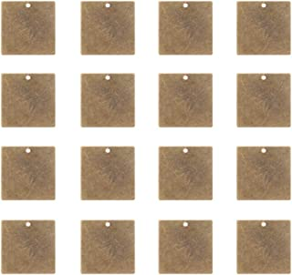 PandaHall Elite 50 Pcs 0.8 Inch Brass Flat Square Blank Stamping Tag Pendants Charms 20x20x0.5mm for Bracelet Necklace Jewelry DIY Craft Making Antique Bronze