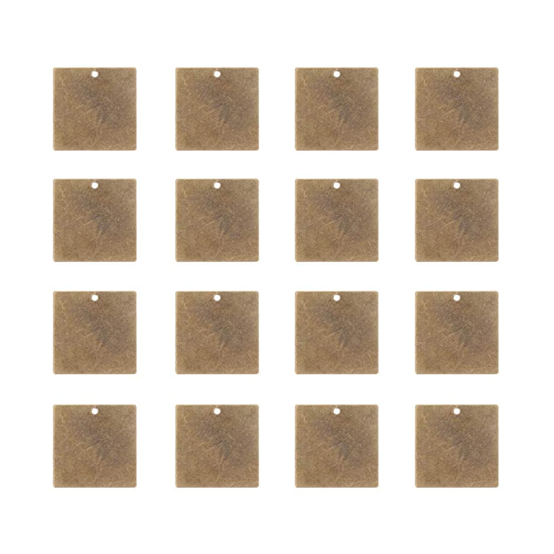 PandaHall Elite 50 Pcs Brass Flat Square Blank Stamping Tag Pendants Charms 20x20x0.5mm for Jewelry Making Antique Bronze