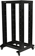 NavePoint 4ft Open Frame 19 Inch 22U 4-Post Network Server Relay Rack Rolling with Casters