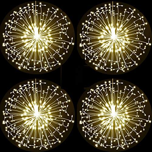 Luci Fatate Natalizie 198 LED Fuochi d'Artificio Luci Stringa Lampada Luci 8 modalità illuminazione con telecomando per Feste, Pergole, Matrimonio, Giardino (4 Pack, 198LED Bianco Caldo)