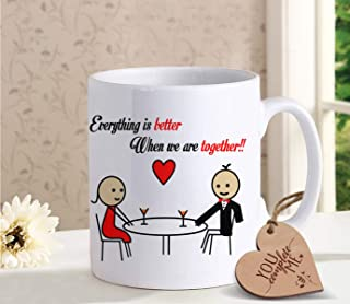 TIED RIBBONS Coffee mug for Boyfriend Girlfriend with Wooden Tag - Romantic Gift for Him or Her - Ideal Birthday, Anniversary Gift for Wife Husband