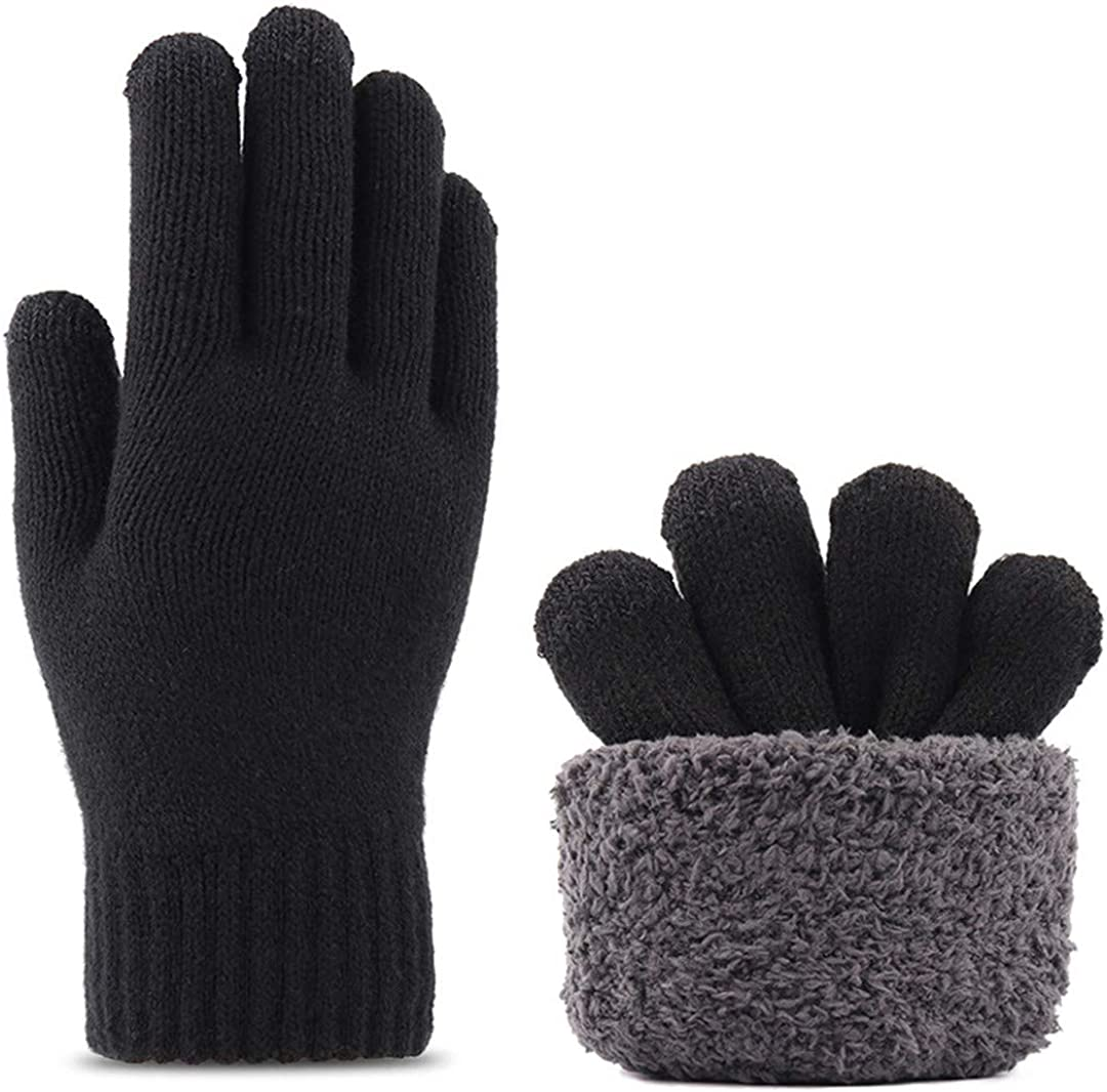 Touch Screen Knitted Gloves Men Women Thicken Wool Mitten Outdoors Anti-Slip Warmer Couple Gloves Double Layer black