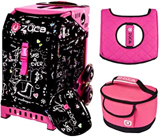 Zuca Sport Bag - Sk8 Black with Gift Hot Pink/Black Seat Cover and Pink Lunchbox(Pink Frame)