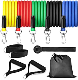 Mojonnie Resistance Bands Set Exercise Bands with Handles, Door Anchor and Ankle Straps for Fitness Traning Yoga Home Gym