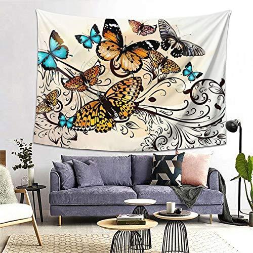 WAZHIJIA Hermoso tapiz de mariposas para colgar en la pared, impresión 3D, arte de pared para sala de estar, dormitorio, decoración del hogar (80 x 60 pulgadas)