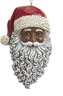 Kurt Adler E0347 African American Santa Head Ornament, 4.5-inches Tall