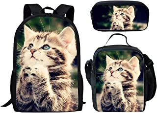 UNICEU Cute Animal Cat Printed Backpack Set 3 Piece Cool Kids School Bag Bookbag Lunch Boxes Pencil Case