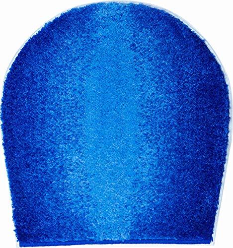 Gr& Badteppich 100prozent Polyacryl, ultra soft, rutschfest, ÖKO-TEX-zertifiziert, 5 Jahre Garantie, MOON, WC-Deckelbezug 47x50 cm, blau