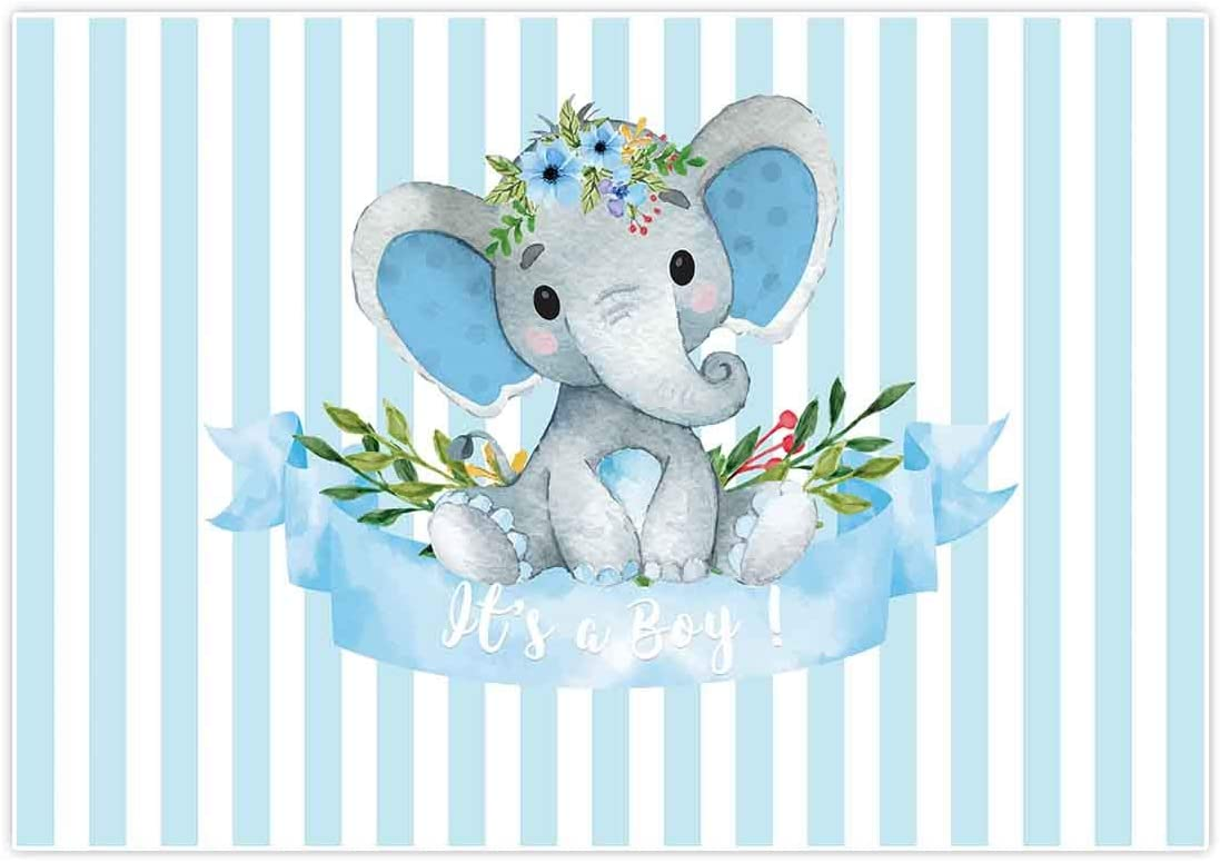 Allenjoy 20x20ft It's a Boy Elephant Backdrop for Baby Shower Party Blue  White Banner Newborn Kids Prince Birthday Photography Background Cake Table  ...