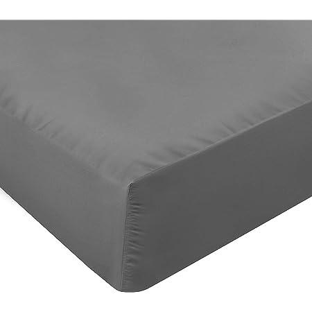 Utopia Bedding Drap Housse - Bonnets 35 cm pour Matelas Épais - Microfibre Brossée - (Gris, 160 x 200 cm)