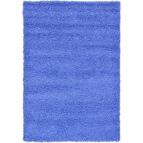 4' x 6' Traditional Luxurious Polypropylene Fiber Shag Area Rug, Glam Lush Texture Cotton Jute Backing Material Thick Accent Indoor Outdoor Area Rug, Adorable Solid Color Periwinkle Blue Area Rug