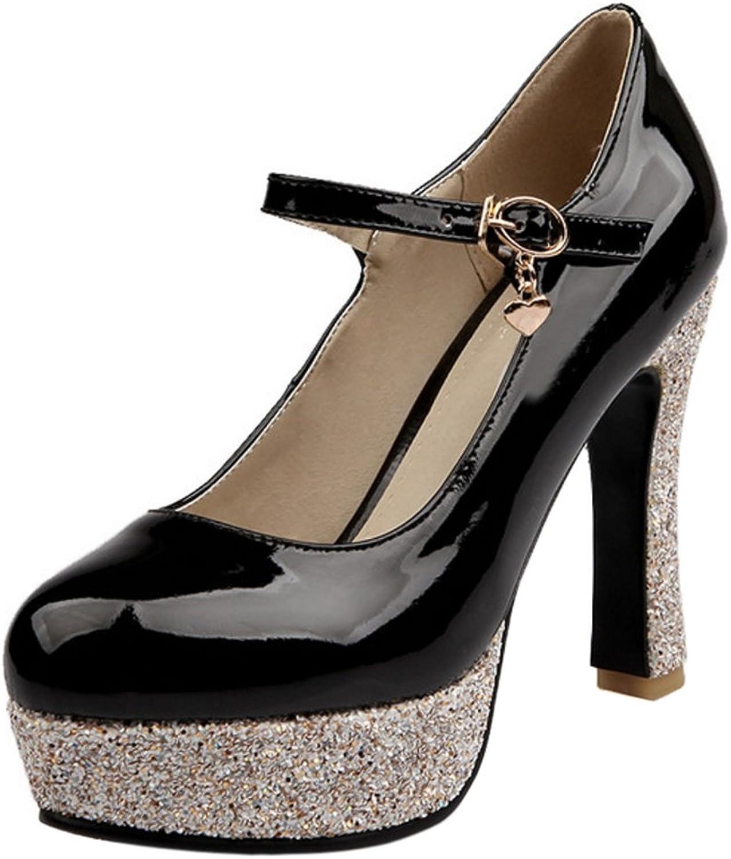 ELEEMEE Women Fashion High Heel Mary Janes Pumps Platform