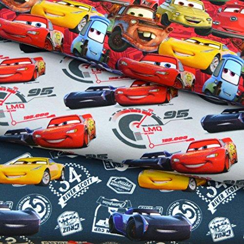 MAGAM-Stoffe Cars Kinder Jersey Stoff Digitaldruck Oeko-Tex Meterware 50cm (1. Auf Rot)