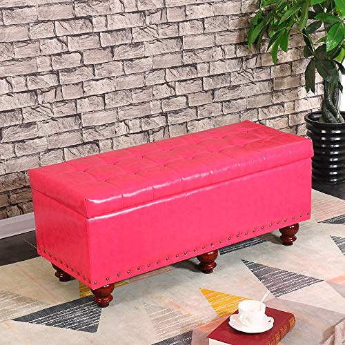 Truhenbank Holzlager Sofa Bank Foyer ändern Schuh Bank | Aufbewahrungsbox PU-Lederimitat Lange Bank Schlafzimmer Bettfußbank Hocker Multifunktionsrast Hocker GW (Color : Pink, Size : L100×H43×W40cm)