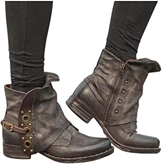 GHrcvdhw Stylish Women Boots Leather Buckle Ankle Boots Large Size Side Zipper Retro Casual Thick Heel Booties Shoes