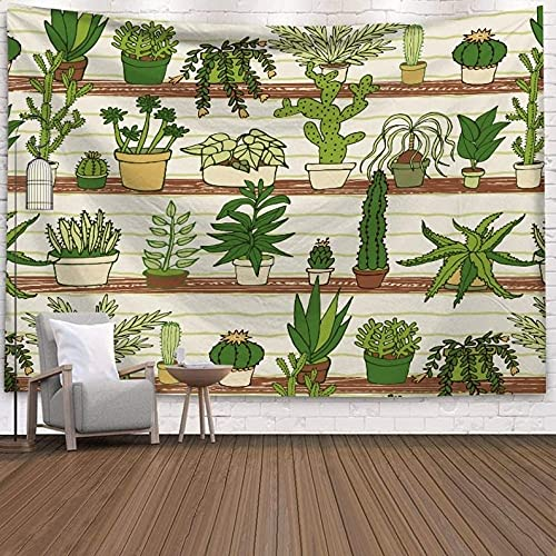 QAWD Tapiz de Cactus geométrico Abstracto Tapiz Marino Bohemio Hippie Tela de Fondo Plantas Verdes Manta Colgante de Pared A9 130x150cm