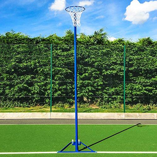 FORZA freistehender Netball-Korb und Netz - portabel Korbball-Netz und Pfosten - Ständer mit Rädern (Blau, Einzeln)