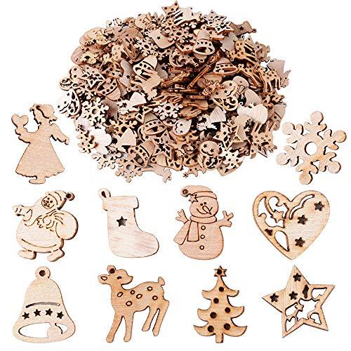 200pcs Adornos Madera Navideños de Arbol Navidad Ornamento Colgante Decoración Rebanadas Scrapbooking Bricolaje DIY Artesanía