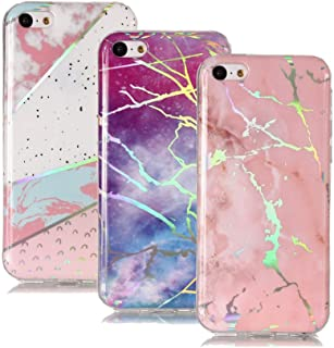 IVY iPhone 5C Marble Case [3 Pack] with Colour Electroplating and TPU Protective Shell Cover Case for Apple iPhone 5C - Pink,Purple,White