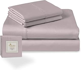 Pizuna 400 Thread Count Cotton King Size Sheet Set lilac Grey, 100% Long Staple Cotton Soft Sateen Bed Sheets with Stylish...