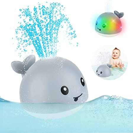Whale Fountain Bath Toy with Colourful LED Lights Whale Bath Toy Water Spray Whale Light up Bath Toy White Whale Sprinkler for Kids Infant Automatic Water Sprinkler for Kid/'s Toddler