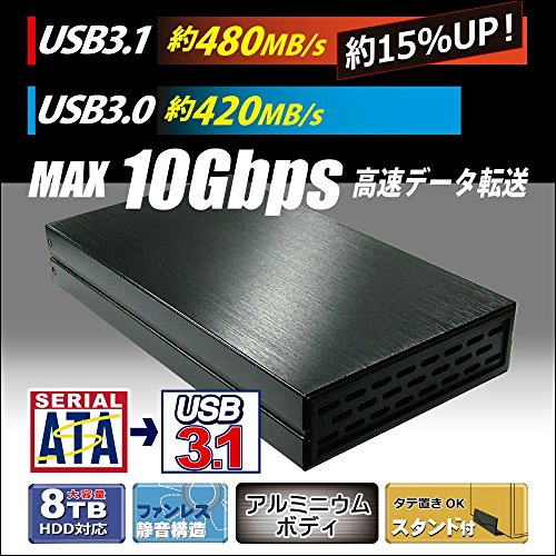 オウルテック3.5インチHDD外付けケースUSB3.1ファンレススタンド付ブラックOWL-ESL35U31-BK