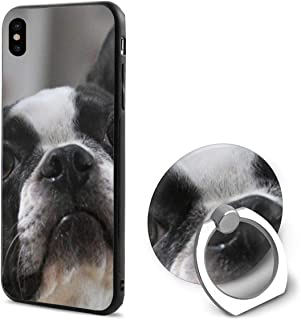 French Bulldog Muzzle Eyes Ears Spotted IphoneX case with Ring Stand Soft TPU Slim Case Cover for iPhone X
