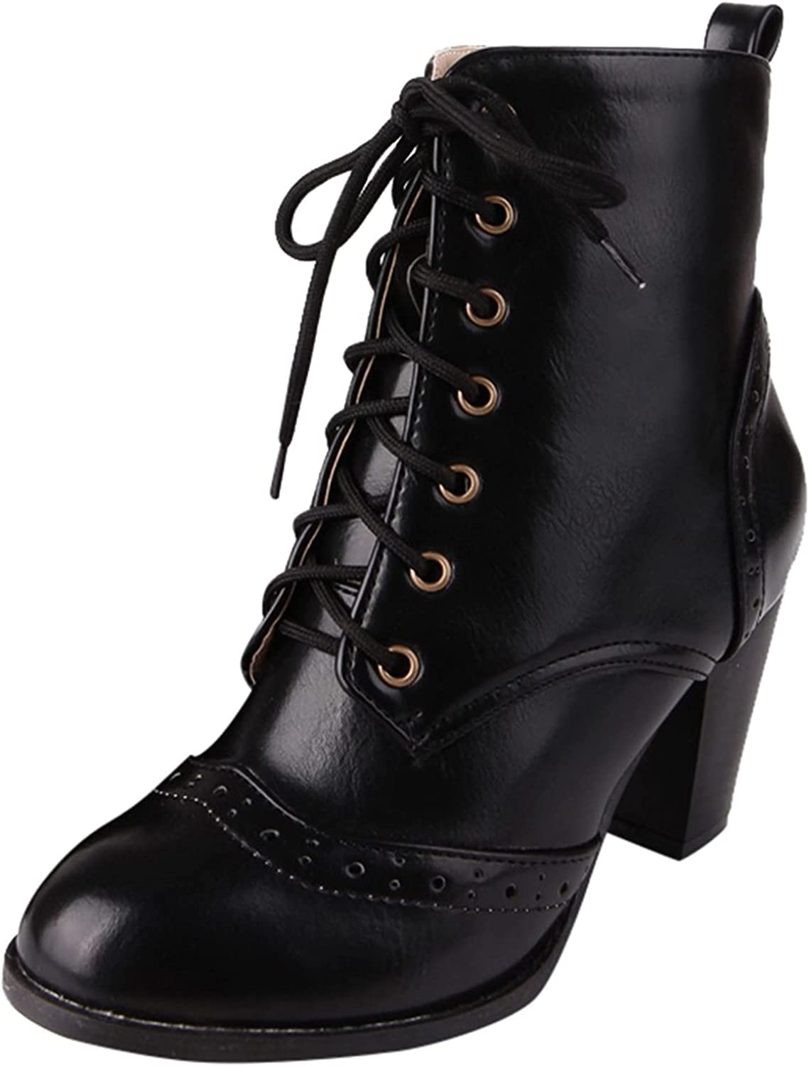 Fashion Lace-Up Solid Womens Work Boots In a popularity And Waterproof Year-end gift Non-Slip
