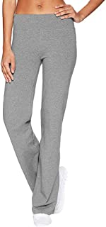 Winsummer Women's Performance Cotton Yoga Pants Stretch Tummy Control Workout Running Pants Long Bootleg Flare Pants Leggings