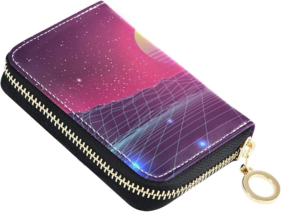 Card Wallet Synthwave Sunset Virtual Small Landscape Outlet SALE lowest price 3d Leather