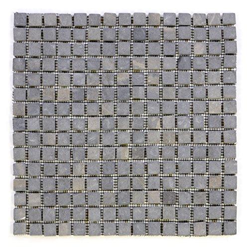 DIVERO 11 Fliesenmatten Naturstein Mosaikfliesen aus Marmor für Wand und Boden anthrazit grau á 30 x 30 cm