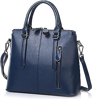 efa7d65e70 Oruil femme italienne en cuir souple Double Zip sacs à main dames Designer bleu  sacs à