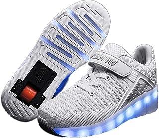 Zapatillas con Ruedas para Niños 7 Colores LED Luz Luminosas Zapatos Doble Rueda Patines Calzado Deportivo al Aire Libre N...