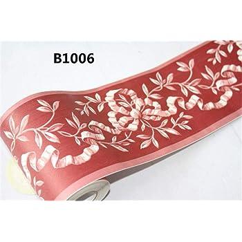 Bordure de papier peint fleur Frise Murale autocollant Motif autocollant imperm/éable en PVC Plinthe Autocollant de salle de bain D/écor Mural