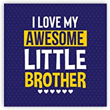 Yaya Cafe Birthday Gifts for Brother Awesome Little Brother Fridge Magnet - Square