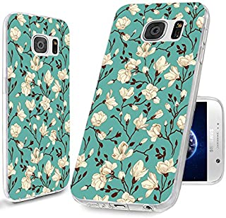 S6 Case,Samsung Galaxy S6 Case,ChiChiC 360 Full Protective Shockproof Ultra Thin Slim Flexible Soft TPU Clear Cover with Design for Galaxy S6,White Flower Magnolia Almond on Green Emerald Floral