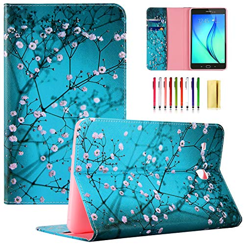 UUcovers T377 Tablet Case for Samsung Galaxy Tab E 8.0 Inch 2016 Model (SM-T377A/T377V/T377P/T375/T378) PU Leather Folio Stand Wallet Soft TPU Back Shockproof Cover with Card Pocket, Pear Flower Blue
