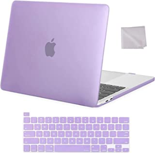 MOSISO Compatible with MacBook Pro 13 inch Case 2016-2020 Release A2338 M1 A2289 A2251 A2159 A1989 A1706 A1708, Plastic Hard Shell Case & Keyboard Cover Skin & Wipe Cloth, Light Purple